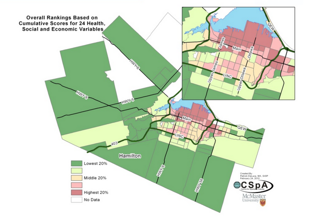map of overall rankings of Hamilton neighbourhoods based on 24 health, social and economic variables