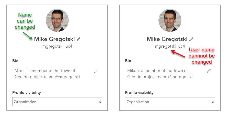 Les deux images montrent qu'on peut modifier le nom de profil, mais pas le nom d'utilisateur dans ArcGIS Online.
