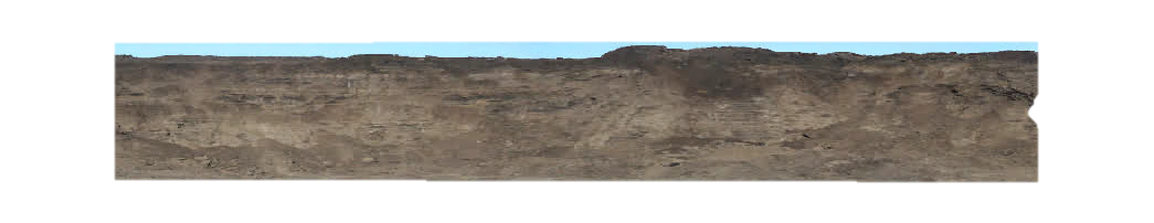 A screenshot of Imperial Oil's old process for capturing mine face data. The image is made up of several panoramic photographs of a mine face. The photographs have been manually pasted together and the sky has been edited out. The mine face looks like a flat wall of rock and soil.