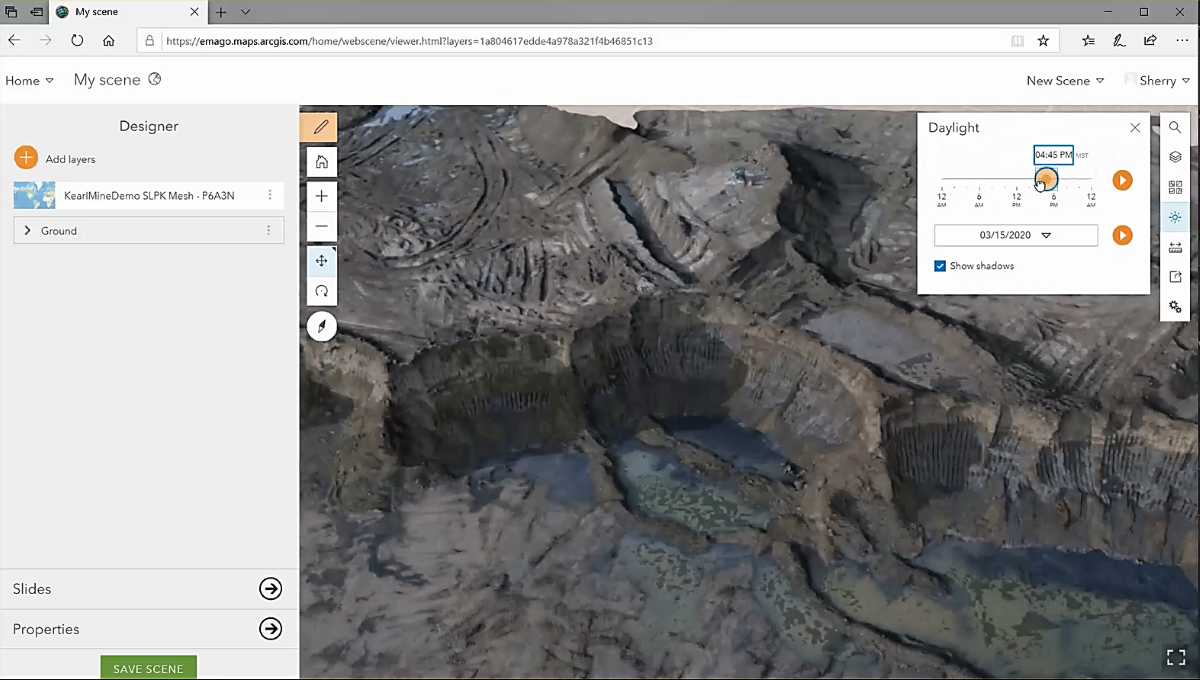 A screenshot of Sherry Qing's current workflow for capturing mine face data. The screenshot shows Sherry's 3D model, originally developed in Drone2Map, in ArcGIS Online in the form of a web scene. Users can interact with the 3D model without needing to download any new software.