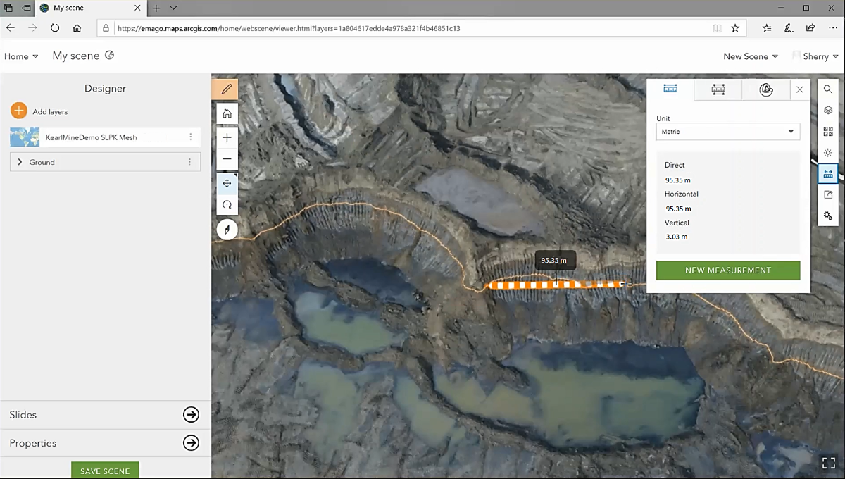 A screenshot of Sherry Qing's current workflow for capturing mine face data. In the screenshot, the web scene of the Kearl Oil Sands site is being interacted with. The user is measuring the distance between two points on site.