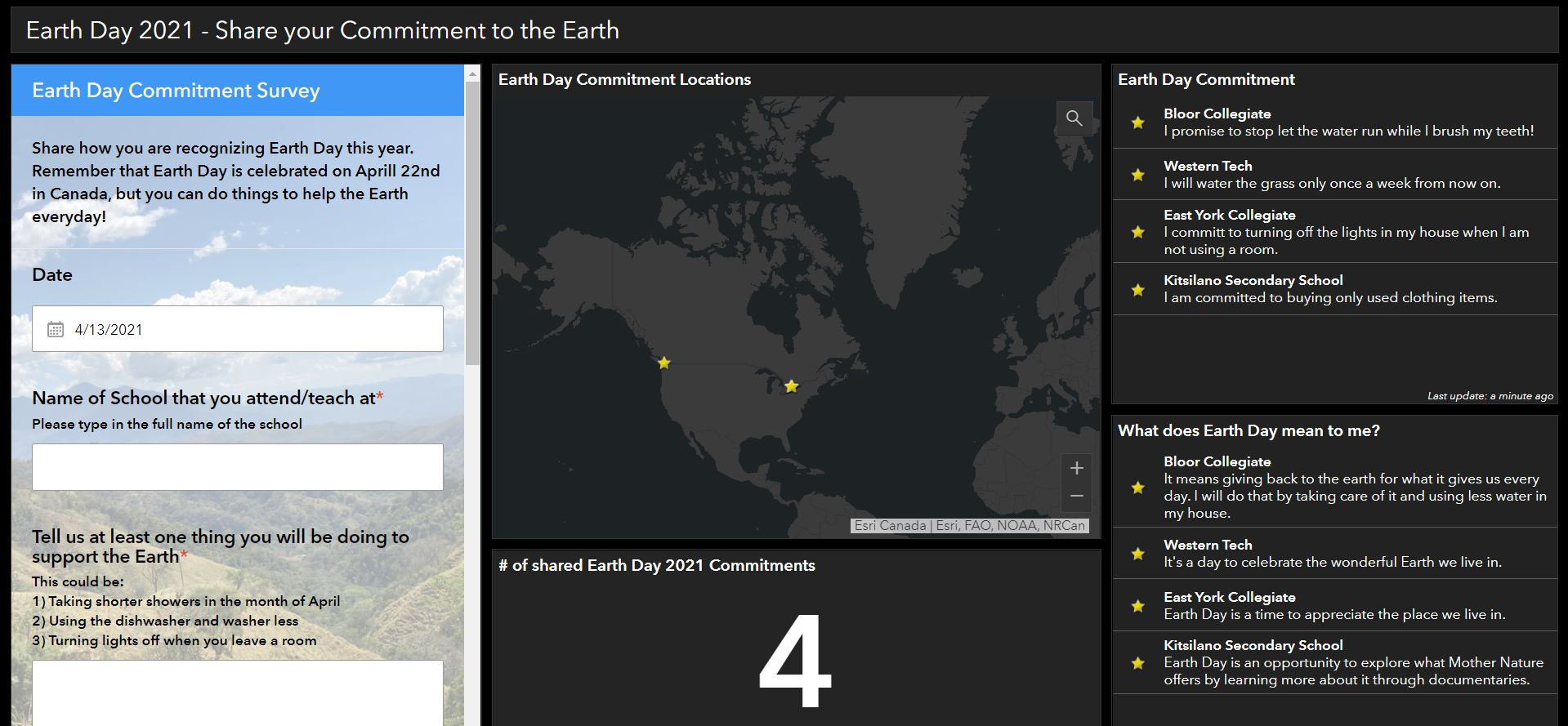 This is a screenshot of a ArcGIS Dashboard with an embedded survey, map and other data.