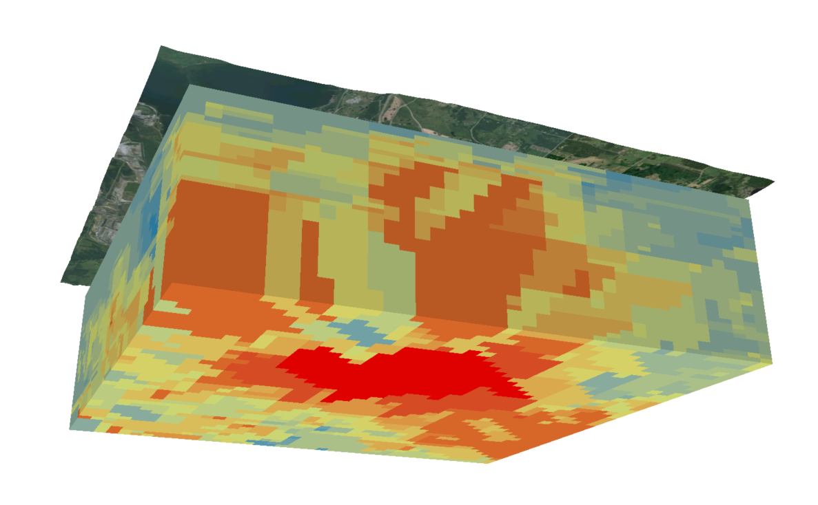 A 3D visualization of below the earth's surface. Layers of red, yellow, orange and green identify different components.