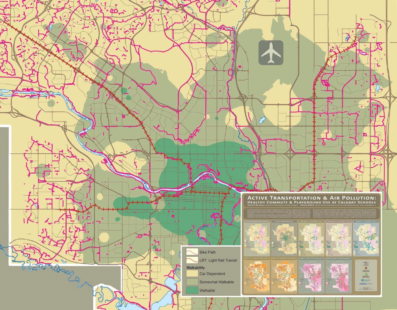 """A copy of the September map from Esri Canada's 2019 Map Calendar, entitled """"Active Transportation & Air Pollution: Healthy Commute & Playground Use at Calgary Schools"""" by Alberta Health Services. This map shows an exploratory, descriptive spatial analysis that investigates the location of schools in relation to air pollution and active transportation."""