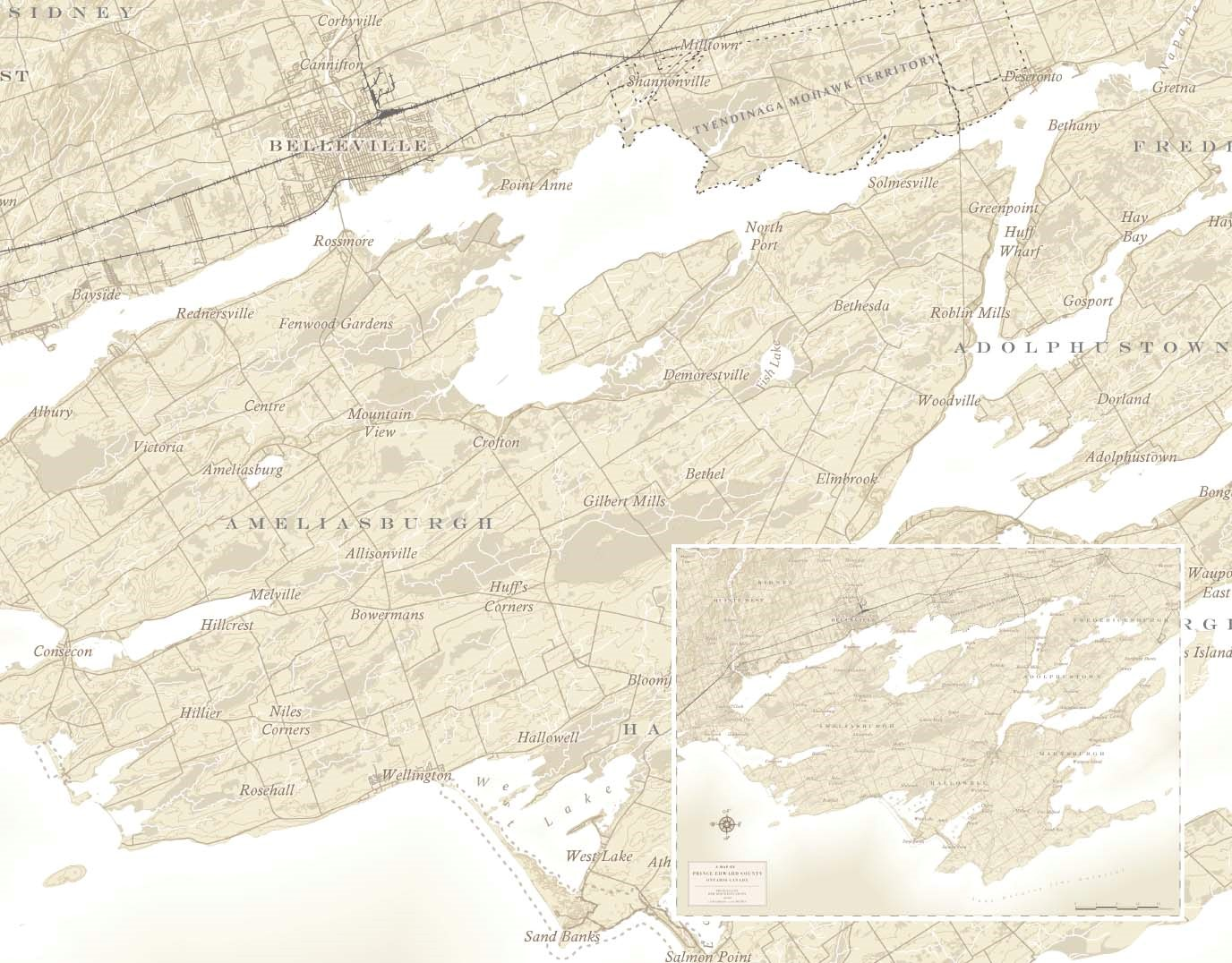 """A copy of the January 2020 map from Esri Canada's 2019 Map Calendar, entitled """"Antique Prince Edward County, Ontario"""" by KBM Resources Group. This historic, sepia-coloured map of Prince Edward County highlights the region's timeless features."""