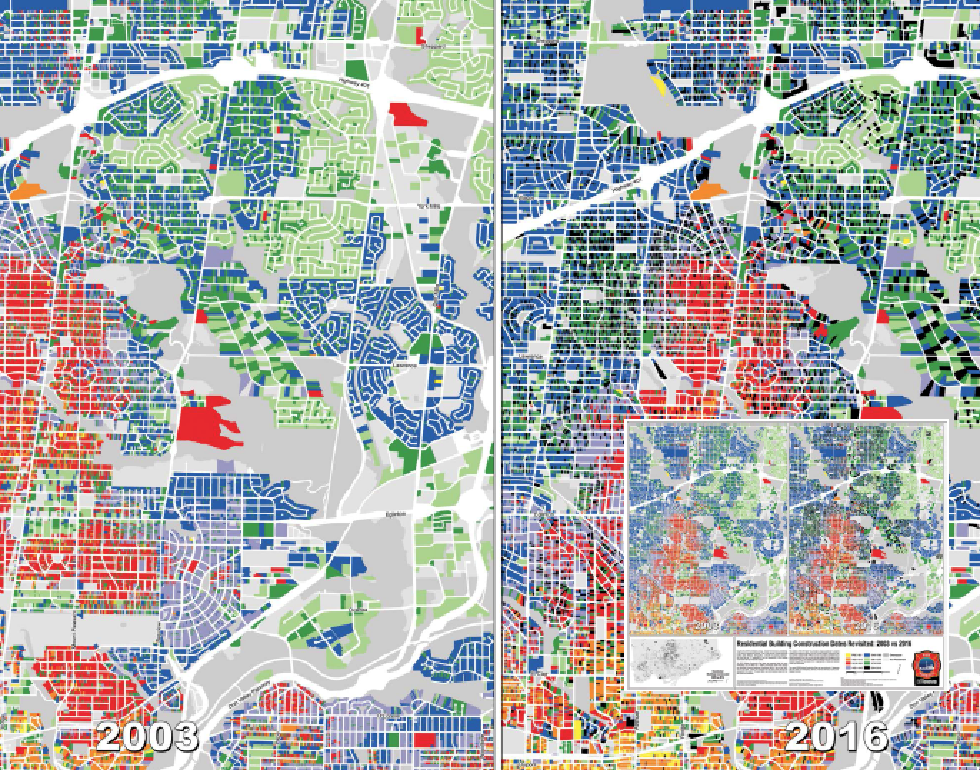 """A copy of the October map from Esri Canada's 2017 Map Calendar, entitled """"Residential Building Construction Dates Revisited: 2003 vs. 2016"""" by the City of Toronto. This colourful map shows buildings in Toronto that are at higher, middling and lower risk of fire depending on their date of construction."""