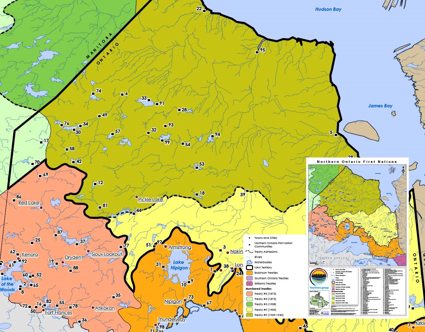 Copie de la carte du mois de juin dans le calendrier 2018 d'Esri Canada, intitulée « Premières Nations du Nord de l'Ontario », par Four Rivers (groupe de services du conseil de Premières Nations Matawa). Cette carte illustre les communautés des Premières Nations du nord de l'Ontario et les traités qui sont associés à chacune d'elle. Dans l'image, on peut voir des parties du Traité no 3, du Traité no 5, du Traité no 6, du Traité no 9 (1905), du Traité no 9 (1929-1930), des Traités Williams, des Traités Robinson et des Traités du Sud de l'Ontario.