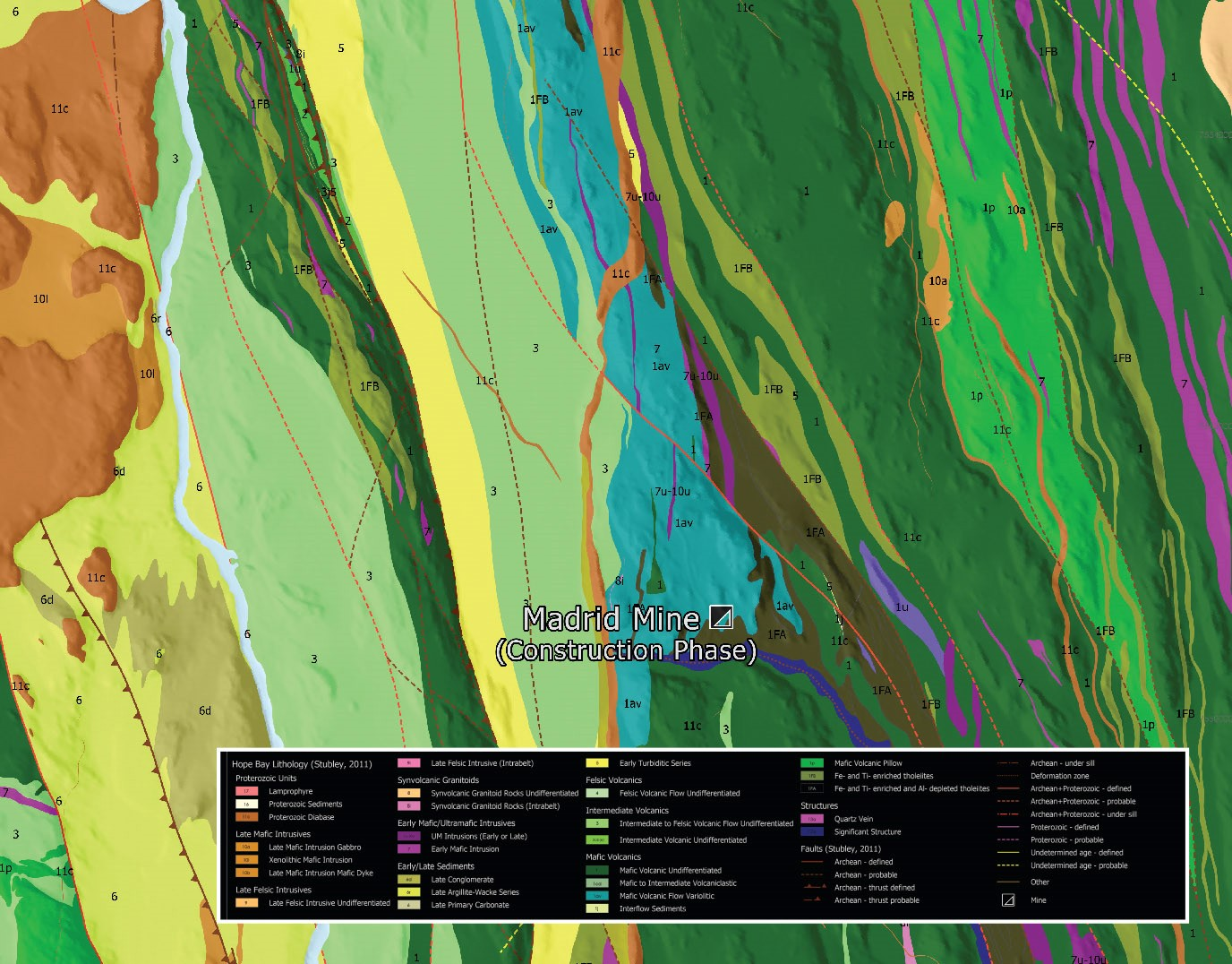 """A copy of the December map from Esri Canada's 2020 Map Calendar, entitled """"Hope Bay Greenstone Geology Belt, Nunavut, Canada"""" by TMAC Resources Inc. This map displays the Hope Bay greenstone geology belt in the western region of Nunavut. Multicoloured bands going from the top to the bottom of the image at an angle show where different rock formations are located relative to one another."""