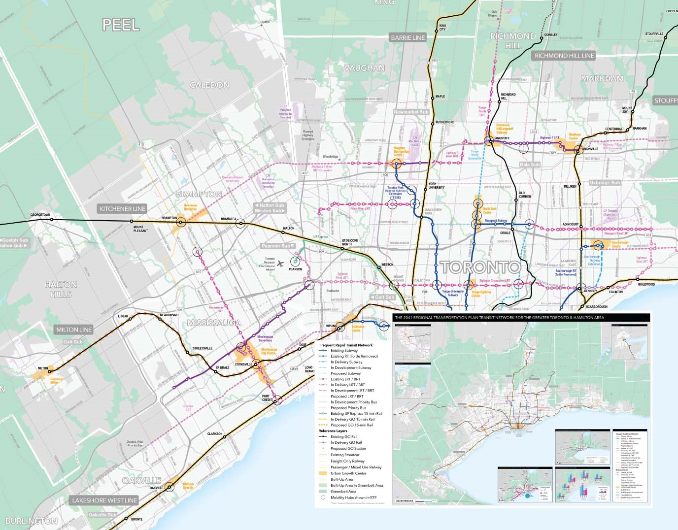 """A copy of the April map from Esri Canada's 2019 Map Calendar, entitled """"2041 Regional Transportation Plan Network Map"""" by Metrolinx. The map illustrates transit routes from the 2041 Regional Transportation Plan for the Greater Toronto and Hamilton Area. The transit network symbology uses dashing to show route status and colours to show route types."""