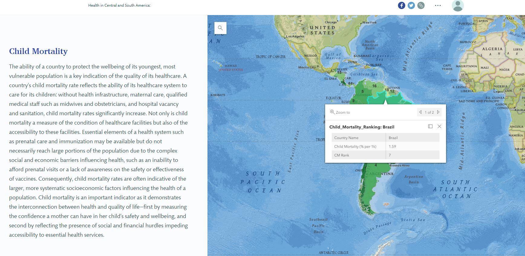 On peut y voir une fenêtre contextuelle affichant les données relatives au taux de mortalité juvénile du Brésil.