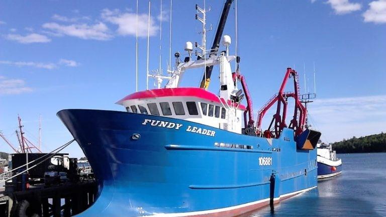 Photo du Fundy Leader, un bateau bleu et blanc conçu pour la pêche aux pétoncles, amarré dans un port