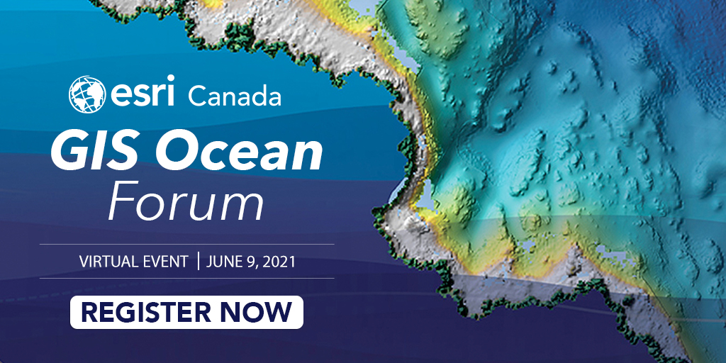 Advertisement for virtual event, Esri Canada Ocean Forum on June 9 over a digital map of the ocean.