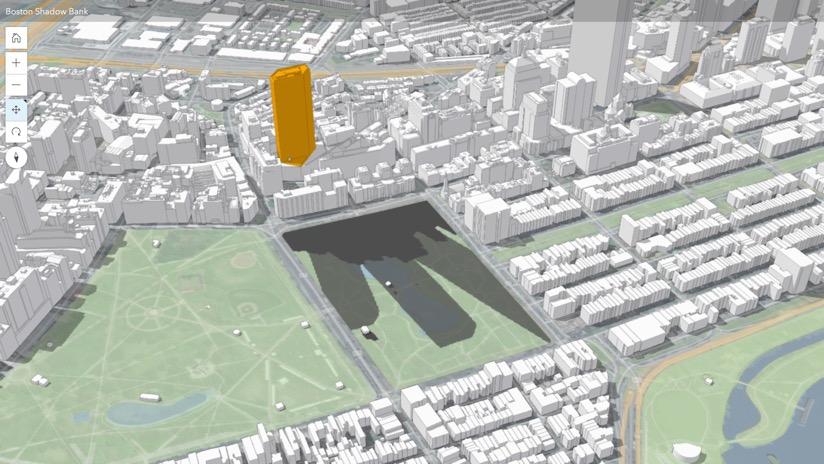 ArcGIS Urban montre l'effet des ombres portées par les nouveaux développements