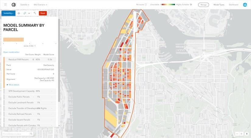 L'outil d'« adéquation au développement » permet aux urbanistes de visualiser des quartiers entiers et de les analyser jusqu'aux bâtiments mêmes.