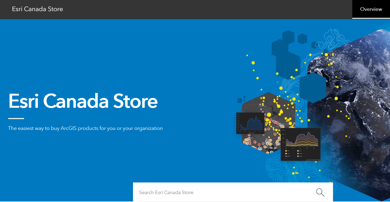 """A screenshot of the front page of the 2021 Esri Canada Store, showing the header as well as the search bar. Text: """"Esri Canada Store – The easiest way to buy ArcGIS products for you or your organization."""""""