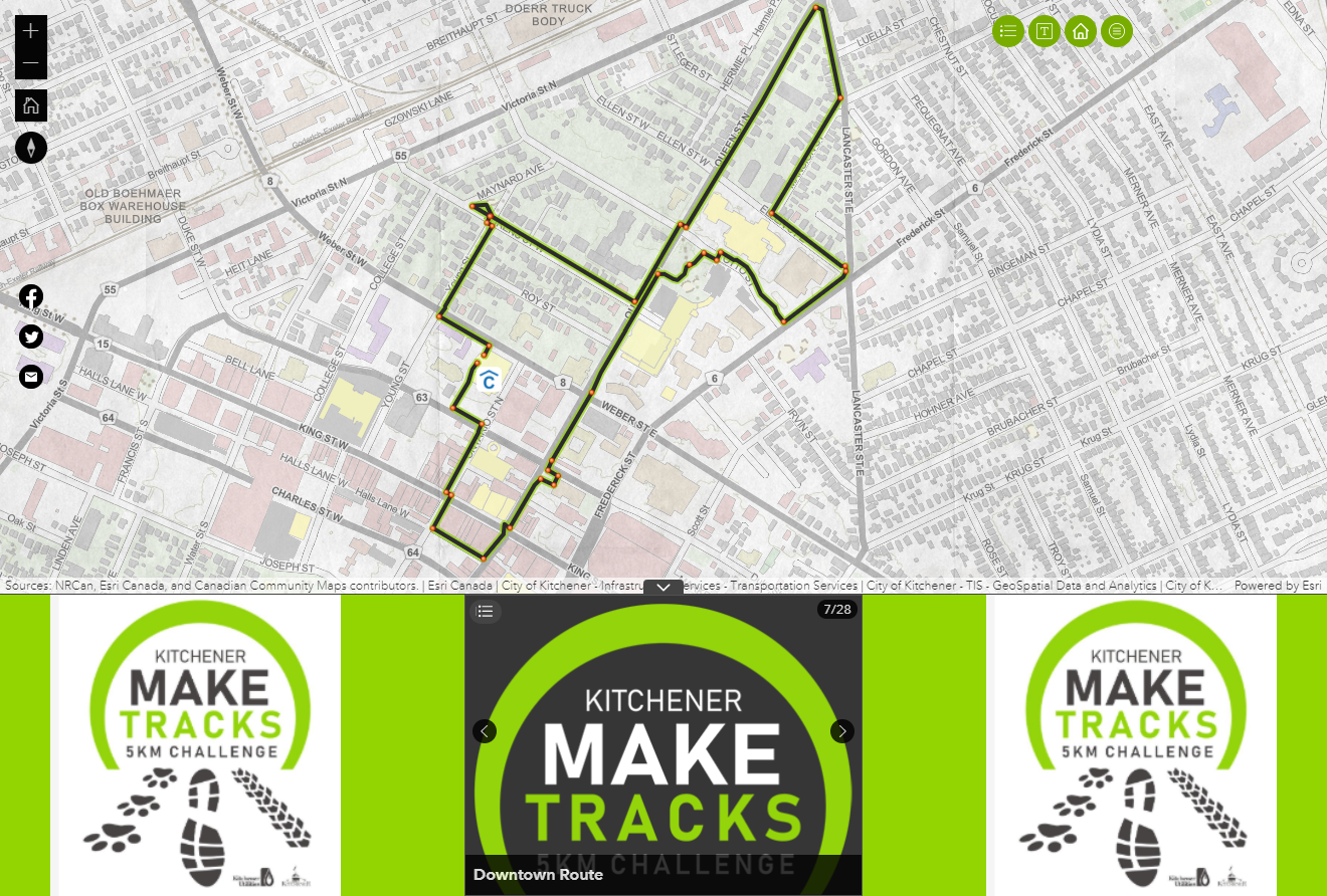 The map-centric layout of the Make Tracks app. Here is the self-guided Downtown walking route.