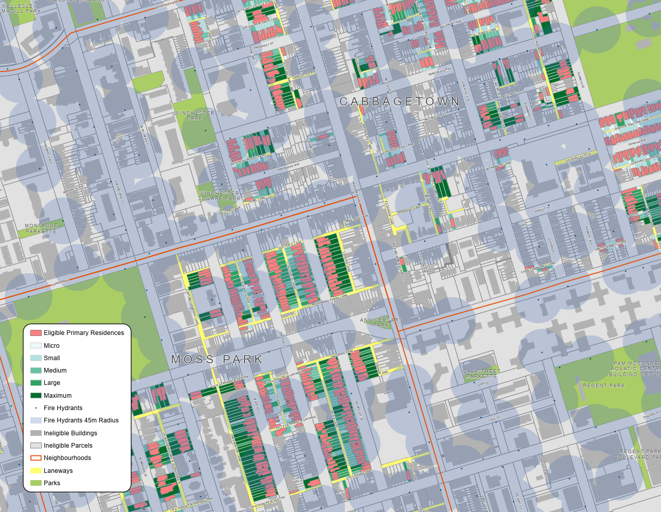 A screenshot of the Cabbagetown & Moss Park one-storey laneway suite eligibility.