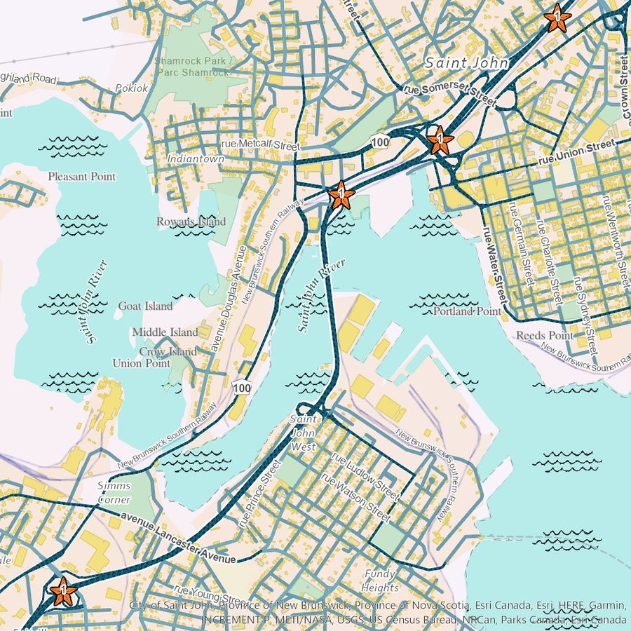 """A map of the Saint John river and Saint John, NB in the style of """"Under the Sea""""."""