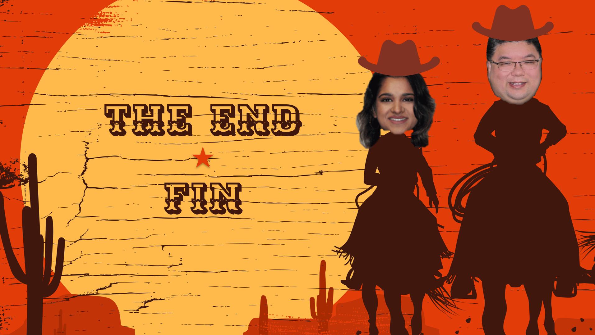 Dessin humoristique d'un coucher de soleil style western avec une inscription « FIN ». Deux photos retouchées représentent les présentateurs du webinaire sur le dos de leur monture.