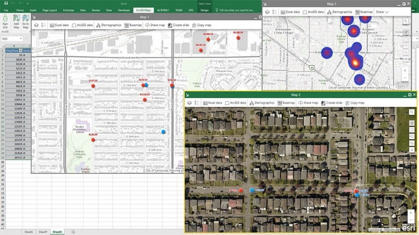 Cartes ArcGIS sur une feuille de calcul Excel