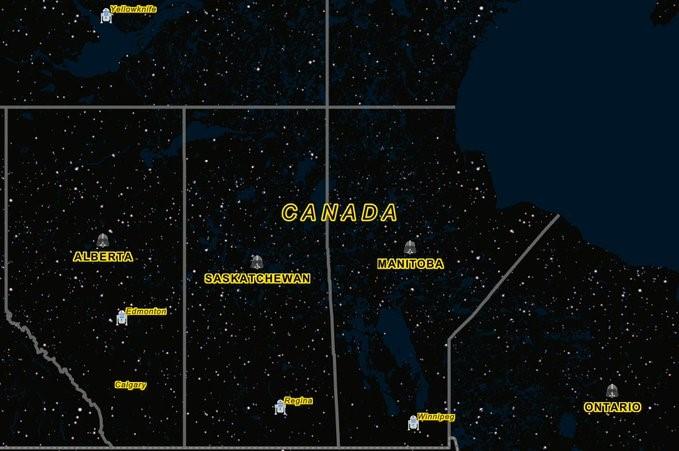 Capture d'écran des Prairies et du nord de l'Ontario représentés avec le style du mois. Le thème étant Star Wars, les marqueurs sont des personnages de la série culte, le paysage est crépusculaire et les étiquettes sont jaunes.