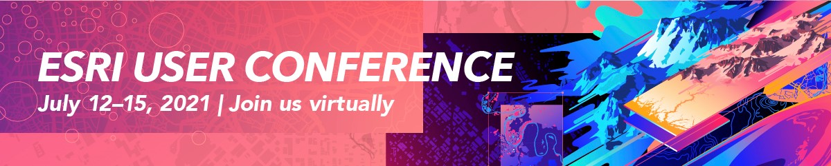 Advertisement for the Esri User Conference from July 12-15, 2021. The advertisement invites attendees to join the conference virtually.