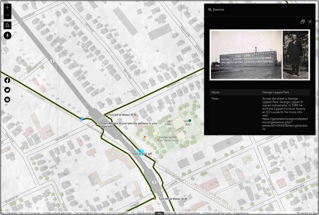 Un exemple de l'information se trouvant dans une fenêtre contextuelle liée à un endroit intéressant. Le long du circuit Breithaup, les résidents passeront par le parc George Lippert, qui porte le nom d'un industriel qui a construit une fabrique de meubles dans la ville.