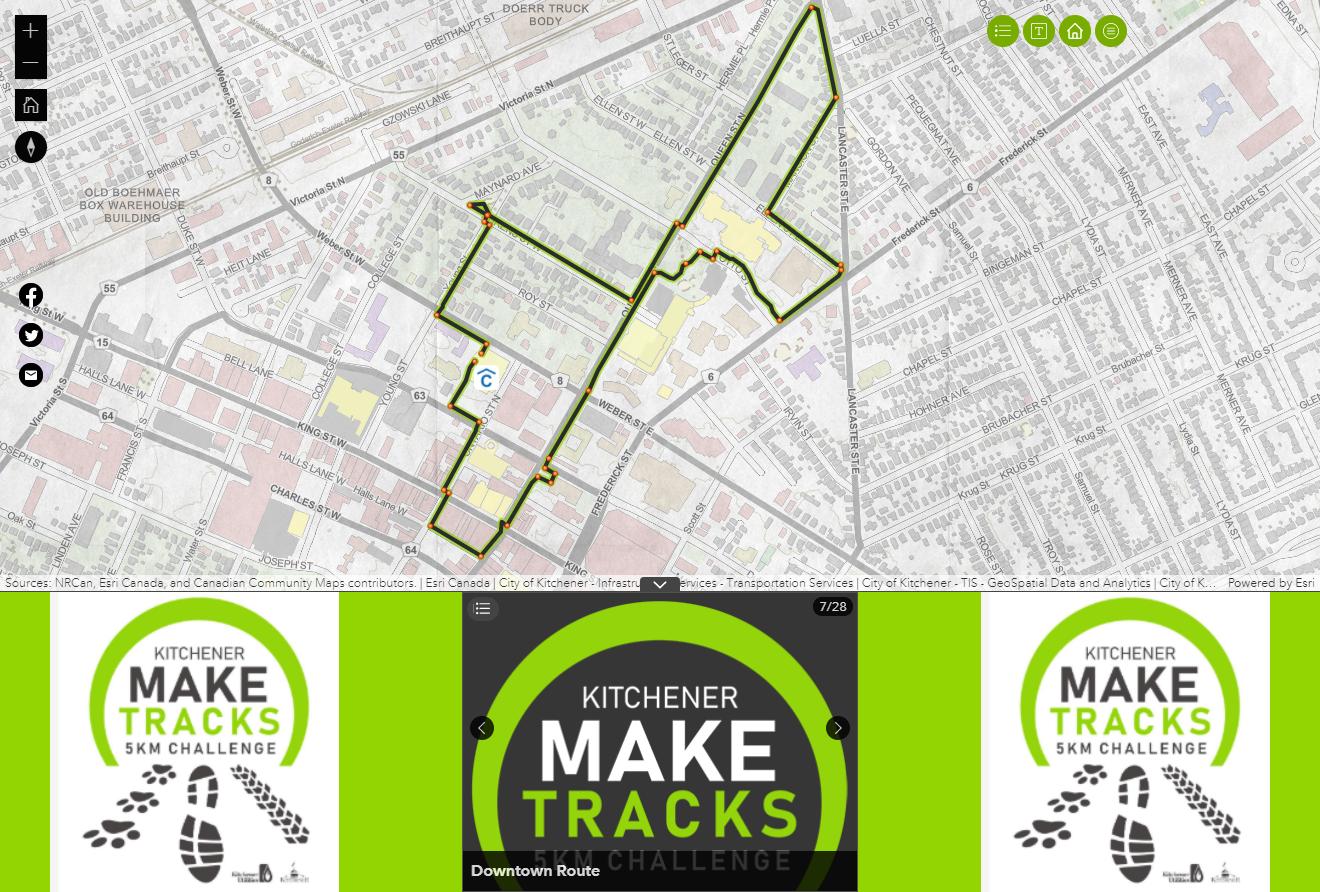 La mise en page de l'application, avec une carte de Kitchener dans la partie supérieure et un widget Géosignet sur fond vert citron dans la partie inférieure.