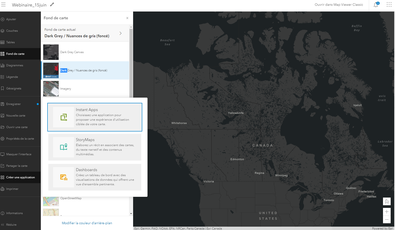 ArcGIS Online map viewer with Instant Apps drop-down menu displayed.
