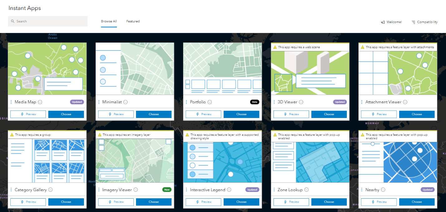 ArcGIS Instant Apps templates displayed