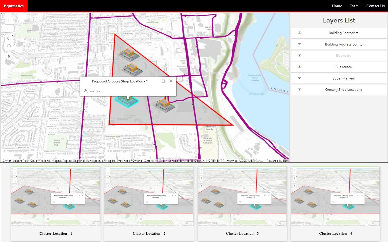 Application web personnalisée montrant une scène 3D de la région de Niagara avec les emplacements des résultats d'analyse affichés.