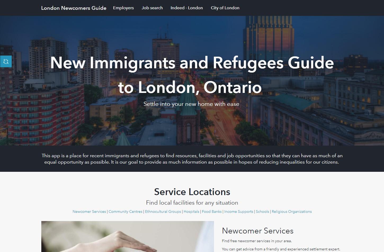 Site ArcGIS Hub créé pour servir de guide aux nouveaux immigrants de London, en Ontario.