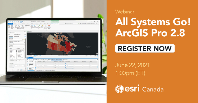 """Advertisement for the """"All Systems Go!"""" ArcGIS Pro 2.8 webinar on June 22 at 1pm Eastern Time."""