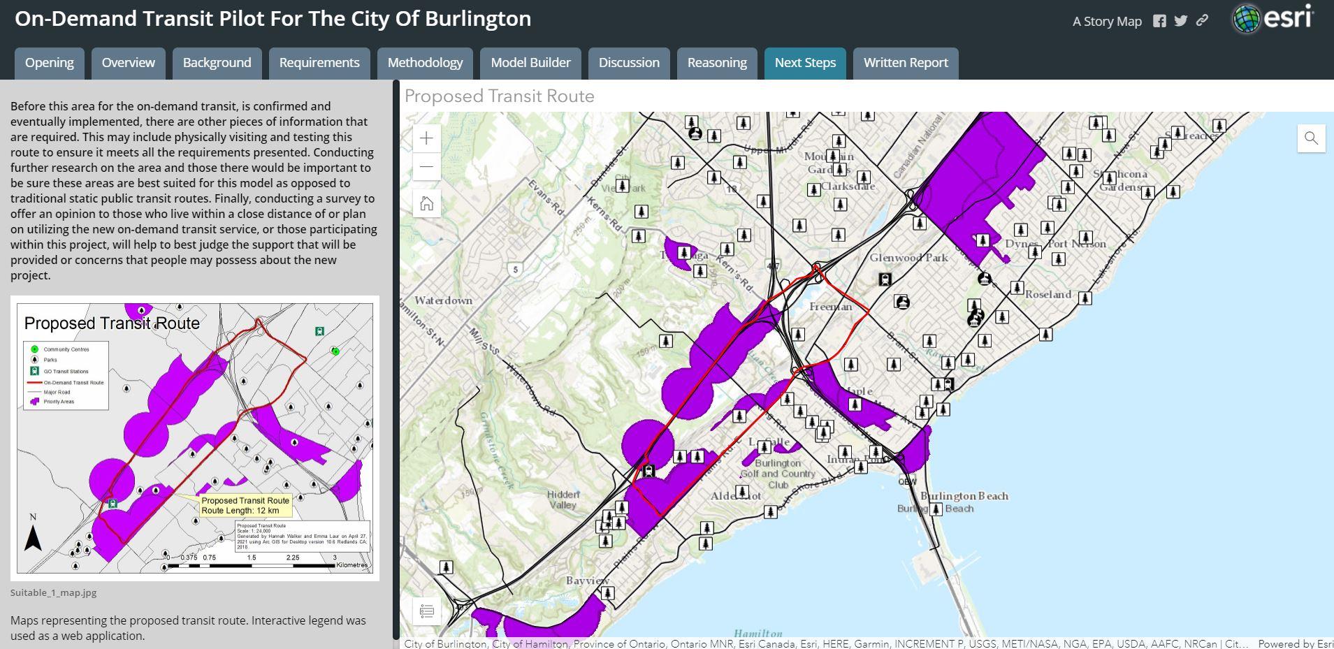 Une carte récit présentant des entités et une proposition d'itinéraire de transport à la demande dans la ville de Burlington.