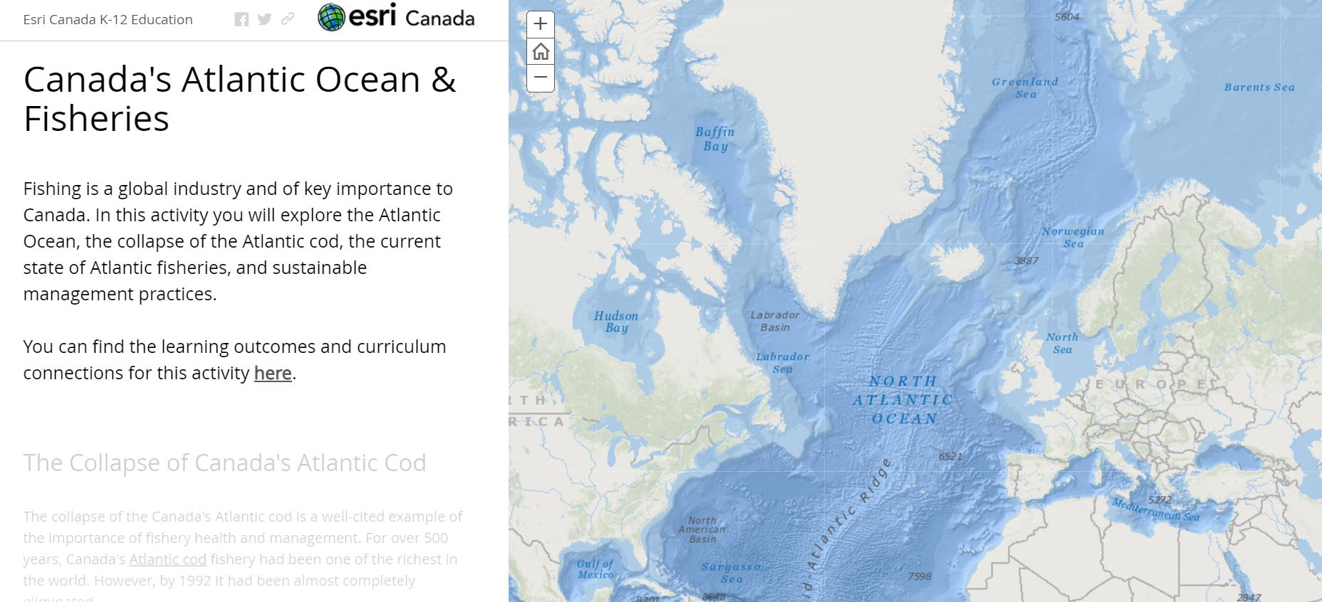 A story map showing the ocean base map with text next to it.