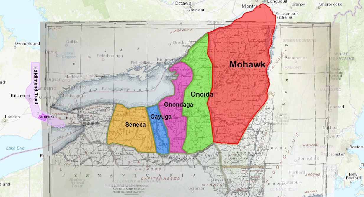 A map showing different coloured polygons that represent the traditional territory of the 5 nations of the Hodinohso:ni people.