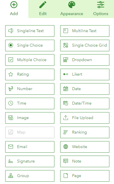 This image shows the 22 types of question blocks that an ArcGIS Survey123 user can add to their survey. The types include Singleline Text, Single Choice, Multiple Choice, Rating, Number, Time, Image, Email, Signature and more.