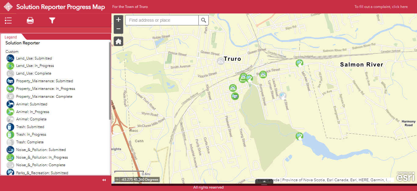 Screenshot of the Solutions Reporter Progress Map in an ArcGIS Web AppBuilder app. On the left is a legend indicating what each icon on the map to the right means. On the right, the map shows the locations of several in-progress and resolved issues that have been raised by residents of Truro, Nova Scotia.