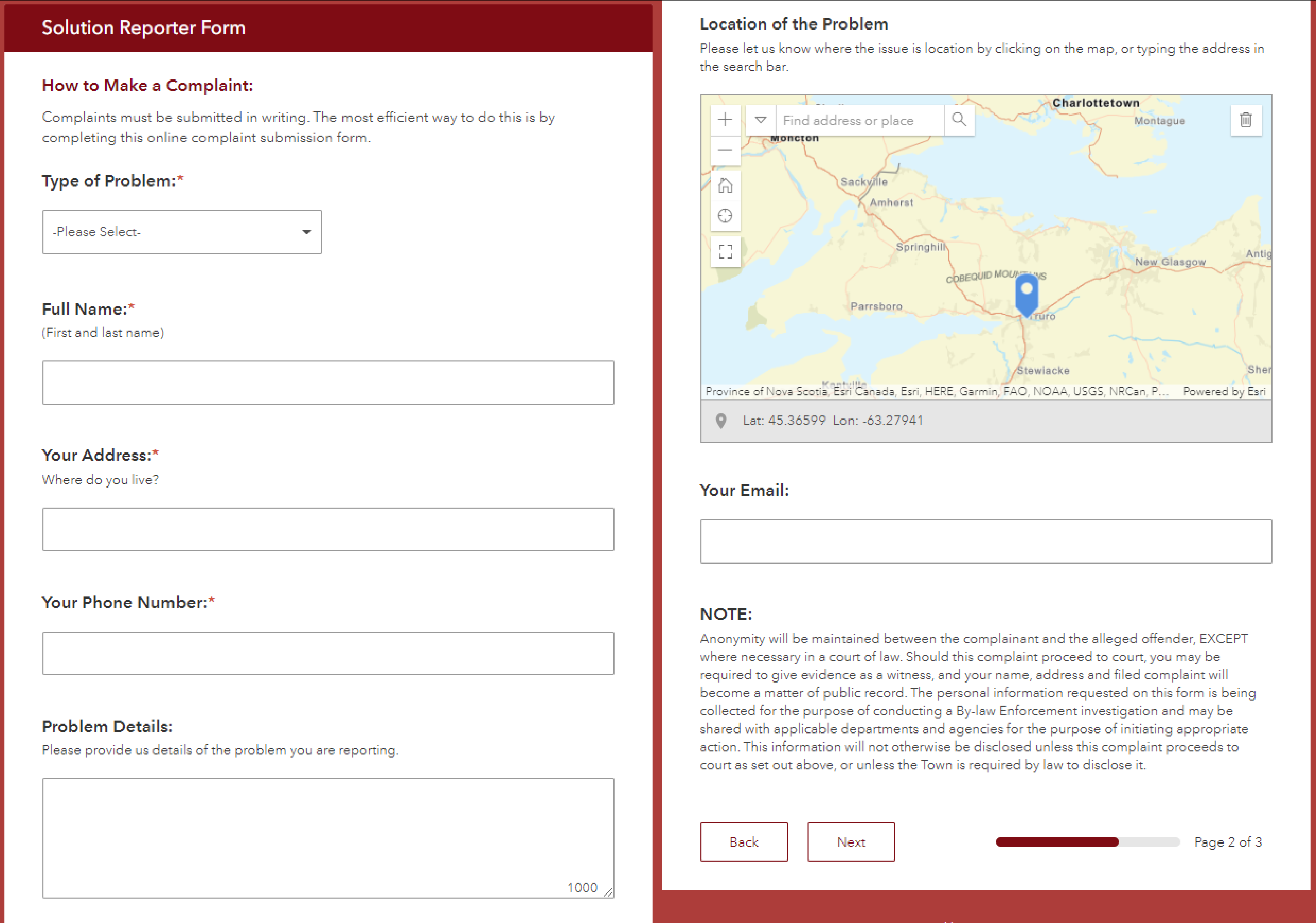 A preview of the Solutions Reporter survey. Users are asked to fill in fields identifying the type of problem they have, their full name, their address, their phone number, details of the problem and the location of the problem. They are also asked to submit their email address for follow-up purposes.