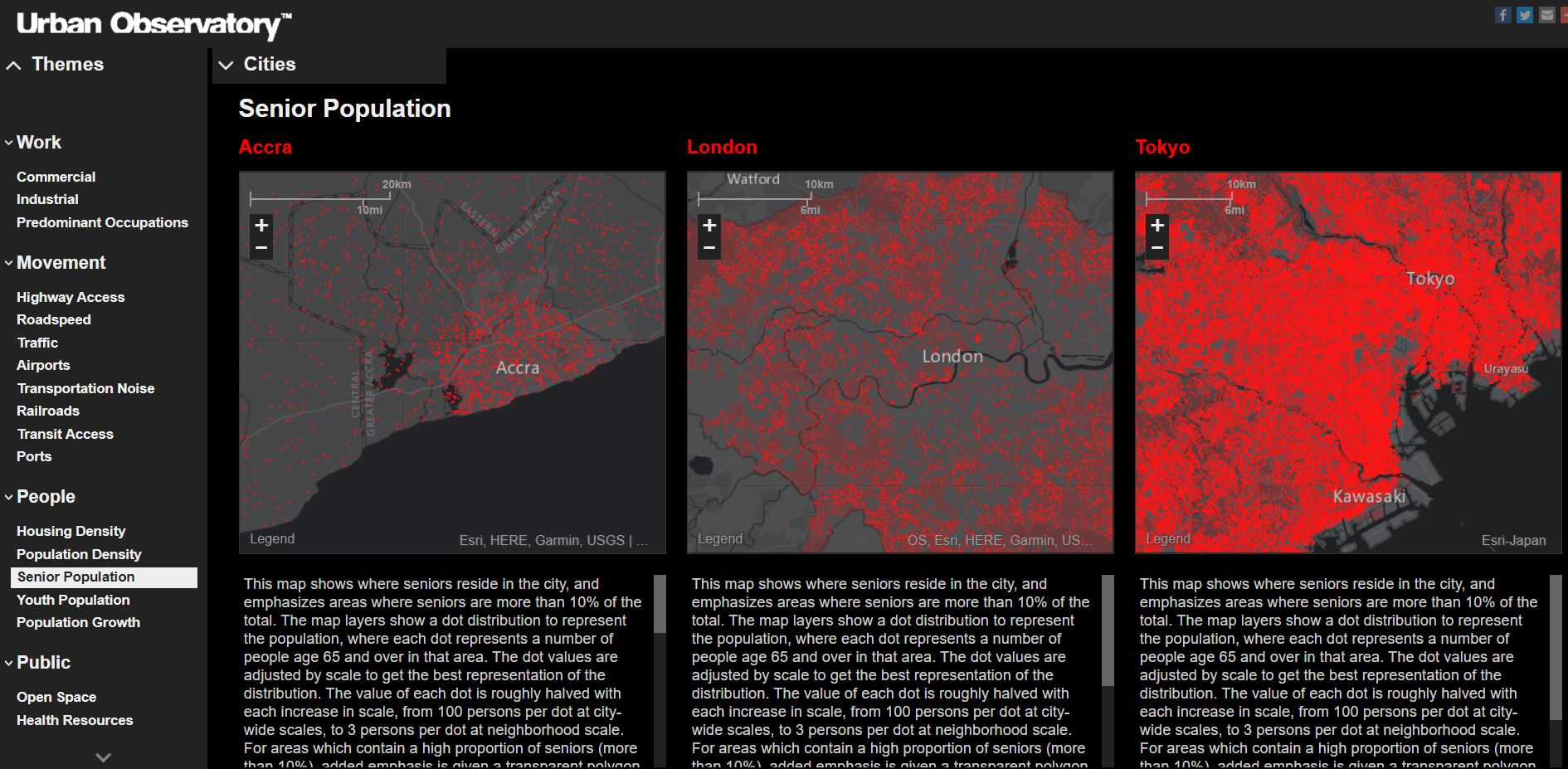 Cette image montre l'application de l'Observatoire urbain. Il y a trois cartes avec des entités surlignées en rouge qui illustrent la population de personnes âgées dans trois villes.