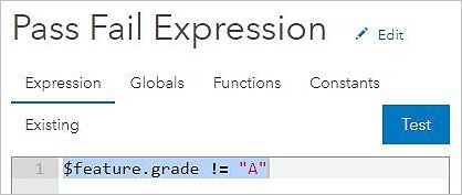 Screenshot of the Arcade expression editor in the Field Maps web app, demonstrating how to create the Constraint profile expression for the smart form to hide the Infraction group of questions for passed inspections.