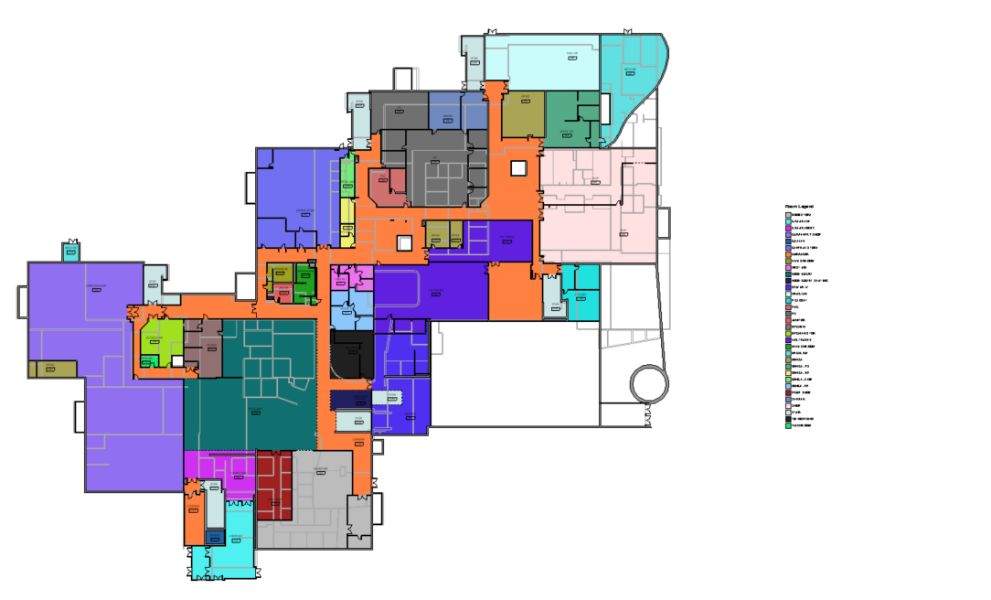 CAD floorplans of a George Brown College campus building. Every room type is assigned a different colour in the model.