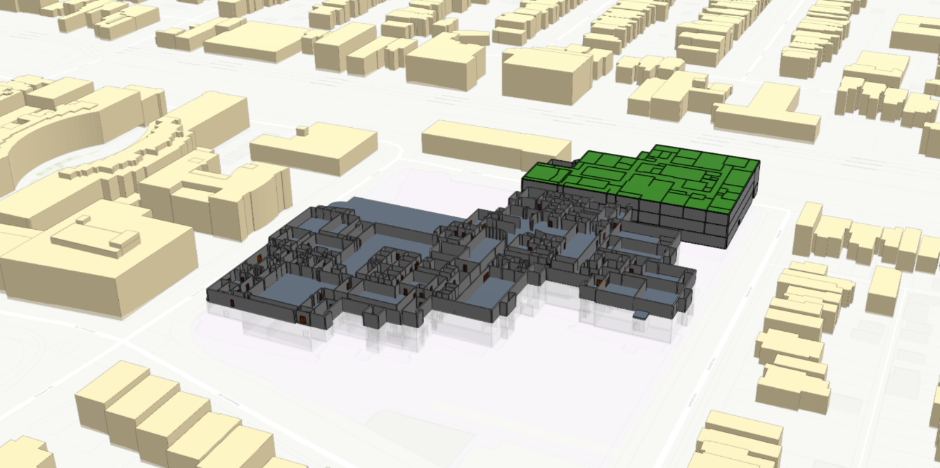 Revit model published to ArcGIS Online with surrounding 3D buildings of Toronto.
