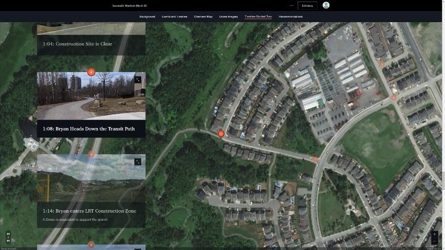 Screenshot of an ArcGIS Mission StoryMap