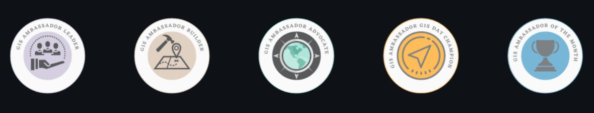 A row of badges that represent the GIS Ambassador Badges.
