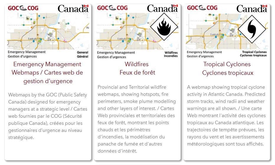 Capture d'écran du tableau de bord du Centre des opérations du gouvernement, montrant les cartes web de gestion d'urgence, des feux de forêt et des cyclones tropicaux.