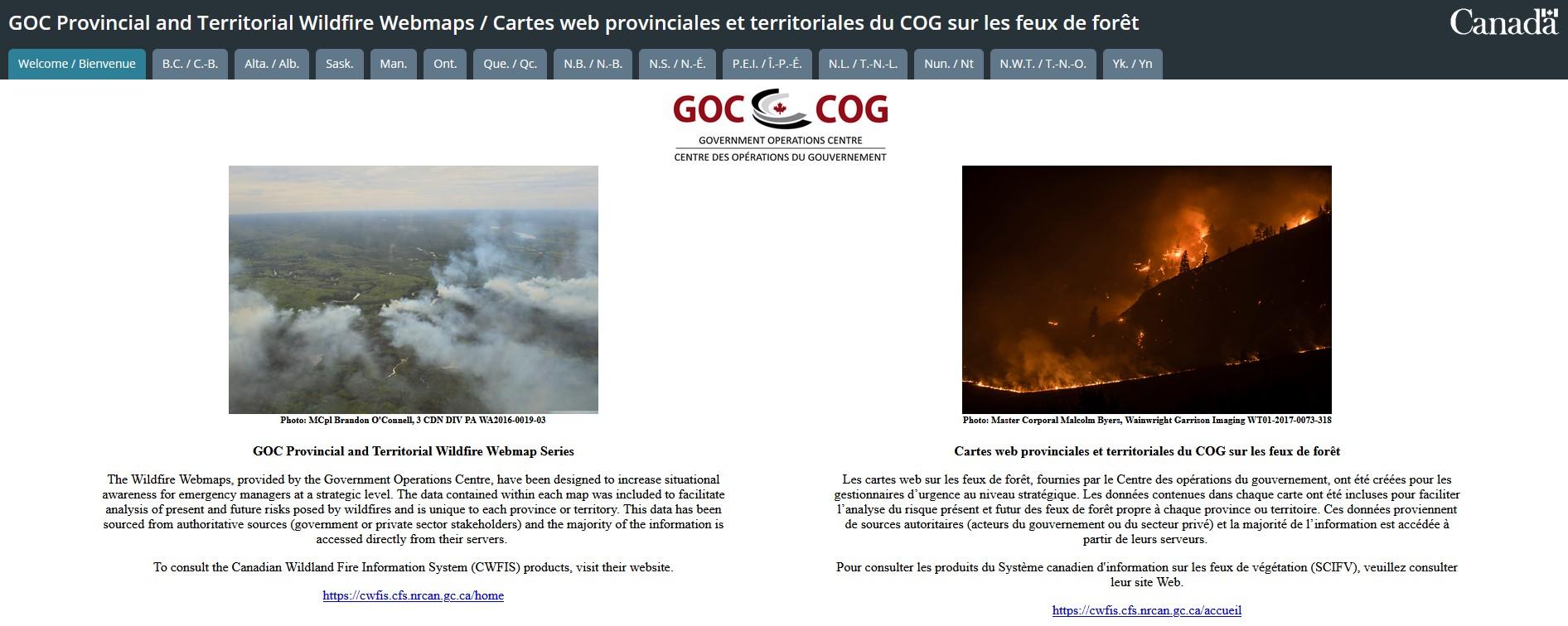 Capture d'écran des cartes web provinciales et territoriales du COG sur les feux de forêt