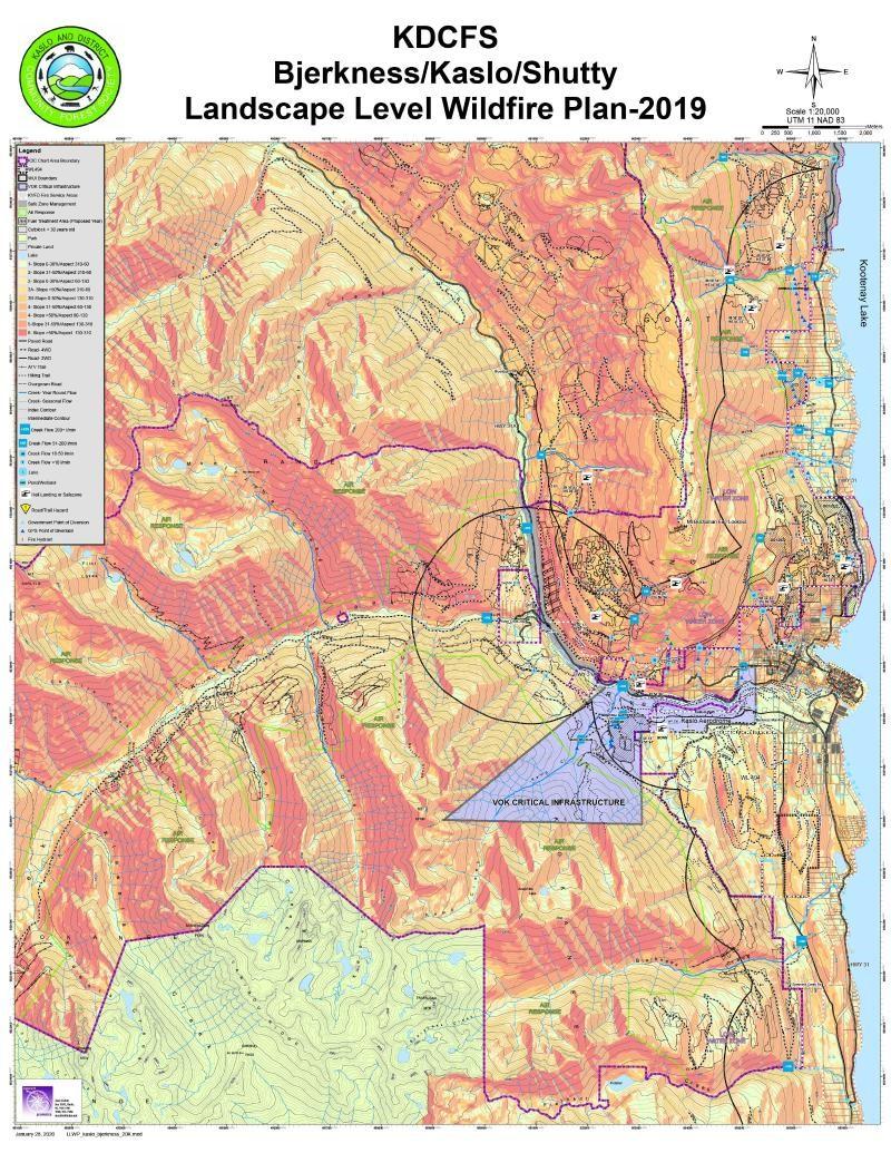 Screenshot of the Map of the Month: KDCFS Bjerkness/Kaslo/Shutty Landscape Level Wildfire Plan 2019