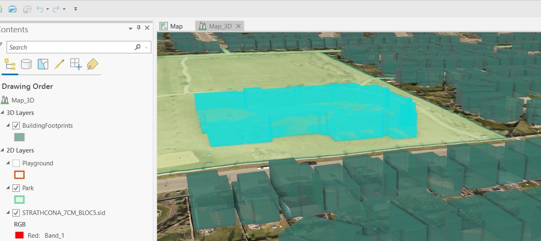Une carte montrant l'image 3D de l'école d'Aiden en Alberta.