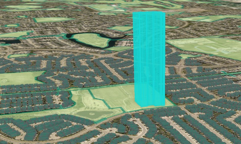 A map showing a 3D image of Aiden's school with 100 stories.